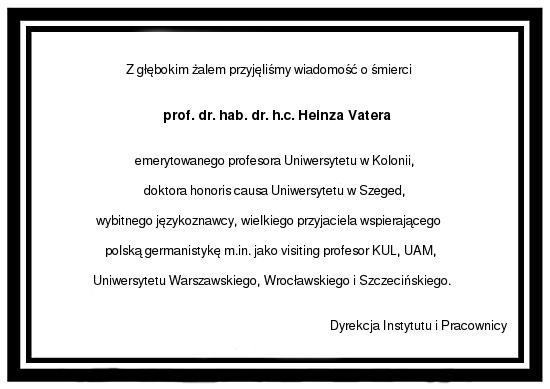 nekrolog - prof. H. Vater