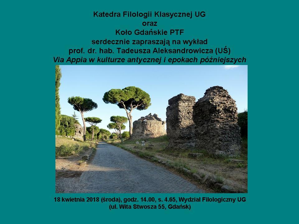 Via Appia - zaproszenie nawykład - plakat