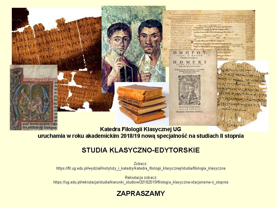 Studia klasyczno-edytorskie - nowa specjalność nastudiach drugiego stopnia