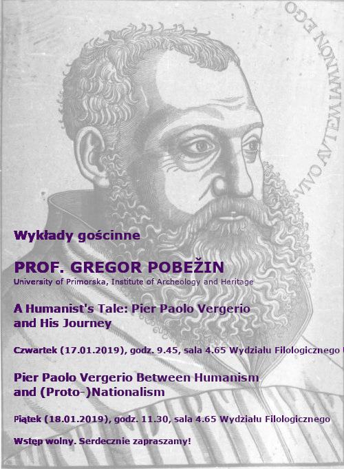 Plakat zzaproszeniem nawykłady profesora Gregora Pobežina zeSłowenii