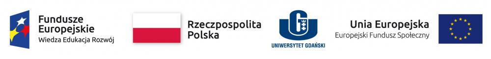 Logotypy Funduszy Europejskich, Rzeczypospolitej Polskiej, Uniwersytetu Gdańskiego iUnii Europejskiej
