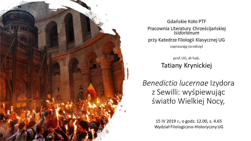 Plakat zzaproszeniem naodczyt prof. Tatiany Krynickiej