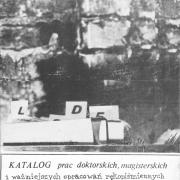 Błażejewski M. (red.), Katalog prac doktorskich, magisterskich i ważniejszych opracowań rękopiśmiennych poświęconych studenckiej